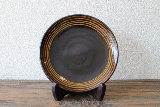 【湯町窯】6寸皿 黒 スリップ