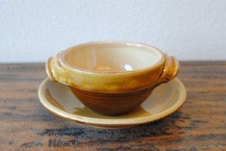 【湯町窯】スープ碗皿 黄釉 内白(クリーム)