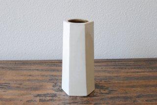 【出西窯】面取筒花入 白釉