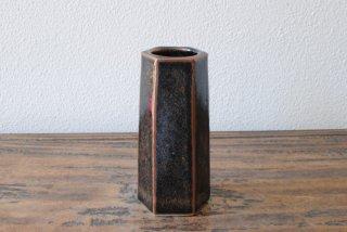 【出西窯】面取筒花入 黒釉