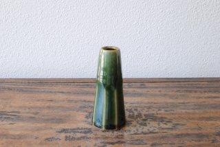 【出西窯】下面取筒花入 緑釉