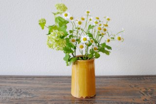 【湯町窯】箸立て 黄釉