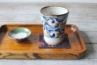 【やちむん・糸満】フリーカップ 大 藍 唐草