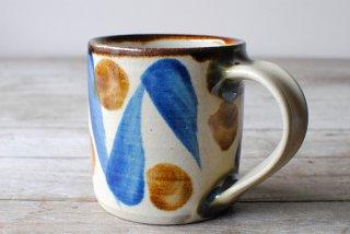 【やちむん・糸満】マグカップ 筒 藍 幾何紋