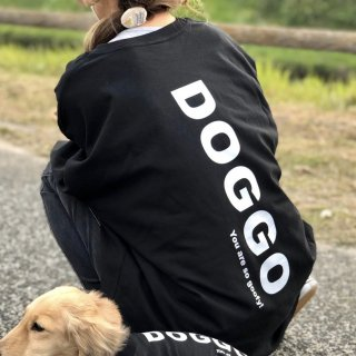 【大人気】DOGGO/ビッグシルエットTシャツ(ディープブラック)/愛犬とペアルック可
