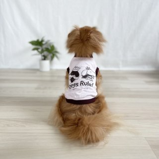 <img class='new_mark_img1' src='https://img.shop-pro.jp/img/new/icons55.gif' style='border:none;display:inline;margin:0px;padding:0px;width:auto;' />Dogs Rule!/犬用Tシャツ(フロストピンク)/ペアルック可