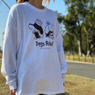 Dogs Rule!/ビッグシルエット長袖Tシャツ(ホワイト)/愛犬とペアルック可