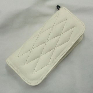 ALL Leather  Cow Hide Padded Wallet Ivory Leather×Ivory Stitch