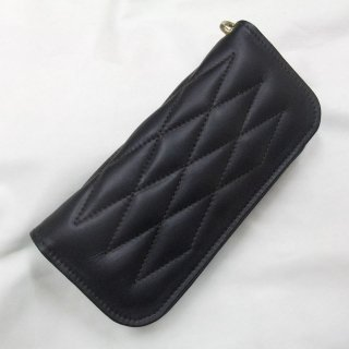Cow Hide Padded Wallet Black Leather×Black Stitch