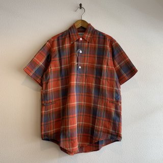 【SASSAFRAS】Wheel Barrow Shell Shirt 1/2 Madras Check ORANGE