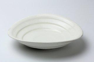 粉引たわみカレー皿 ・熊谷雅博