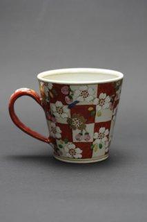 色絵マグカップ(桜格子)濱田高滋