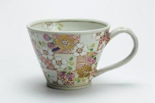 色絵格子紋マグカップ・濱田高滋