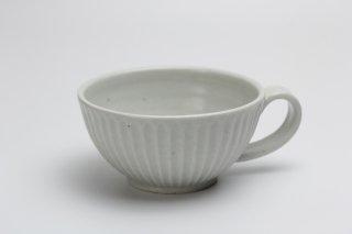 白磁しのぎスープカップ・加藤仁志