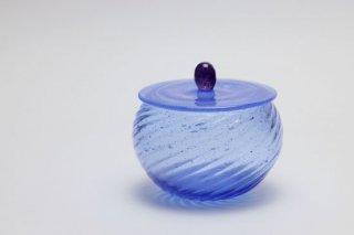 ガラスの蓋物(ブルー)・有松啓介