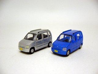 カーコレ14 スズキ ワゴンR (青メタ+銀)