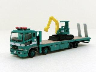 129 警視庁 三菱ふそうスーパーグレート 重機搬送車(油圧ショベル)