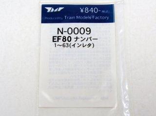 〔未使用品〕 N-0009 EF80 ナンバーインレタ(1〜63)