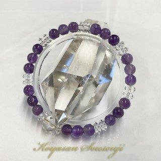 不動・大日・観音 スリム 梵字(8ミリ)水晶 紫水晶 アメジスト(6ミリ) 腕輪 厄除け お守り ブレスレット