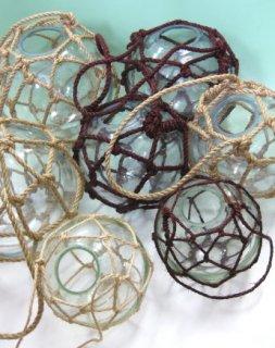 穴あきガラス浮き玉NO.7 (ネット外径230φ)  漁業 花瓶 浮玉
