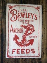 ハワイアンウッドサインボードBEWLEY'S FEEDS