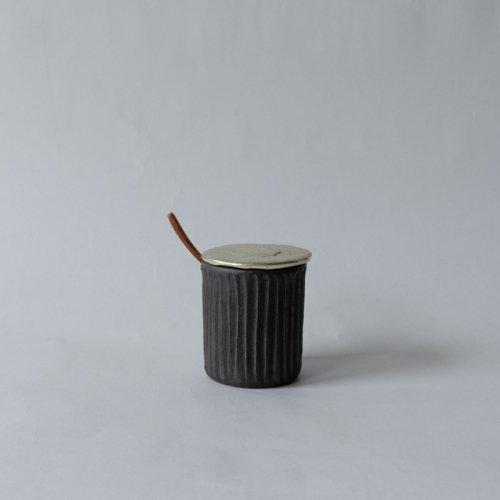 馬場勝文 / 黒釉シュガーポット (すずのふた)