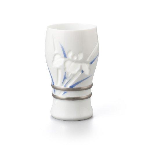 透かし彫 菖蒲 ビアグラス