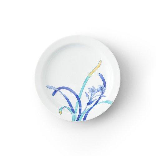 五草花 水仙 リム付6寸皿