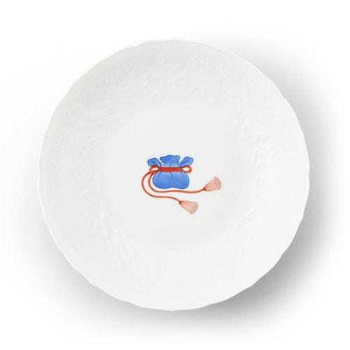 鍋島 宝尽くし 宝袋文 彫7寸皿