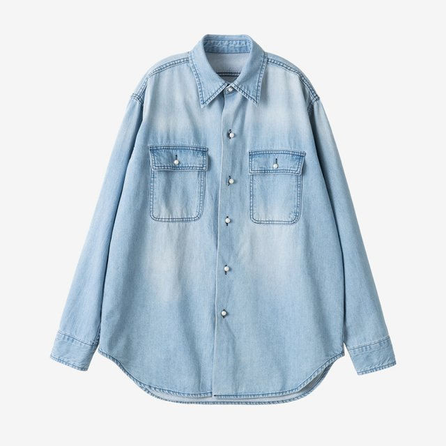パールボタンデニムシャツ