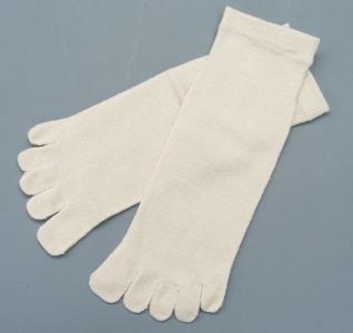 絹5本指ソックス(かかとなし) 絹100% 生成 24〜26cm