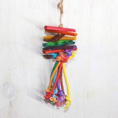 レインボーカラー 鳥のおもちゃ/ 木製&カミカミロープ(XSサイズ)_文鳥・フィンチ用