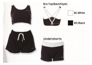 Women's 3 Items Set(Bra top/Shorts/Undershorts)