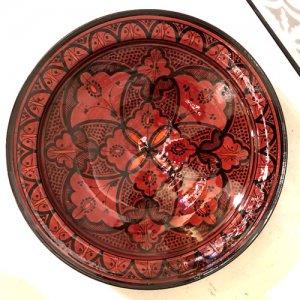 モロッコ 絵皿  ピンクレッド S/M/L/XL