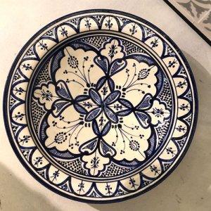 モロッコ 絵皿  ブルー×ホワイト S/M/L/XL