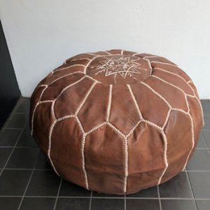 モロッコ刺繍プフ マロン