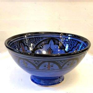 モロッコ 陶製ボウル  ブルー M/L