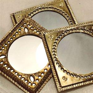 真鍮プチミラー  八角形