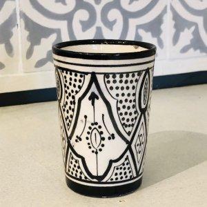 モロッコ陶器 コップ ブラックA