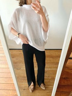 High neck mesh knit pullover