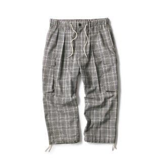 Plaid Comfy Cargo Pants / Grey Plaid