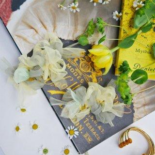 新緑|彩る咲き編みバレッタ/ヘアクリップ