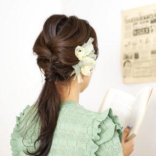 mini|新緑|彩る咲き編みバレッタ/ヘアクリップ