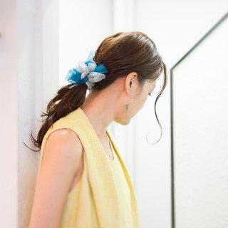 スモーキー|彩る咲き編みバレッタ/ヘアクリップ