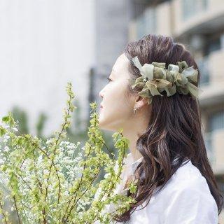 グリーンティ|彩る咲き編みバレッタ/ヘアクリップ