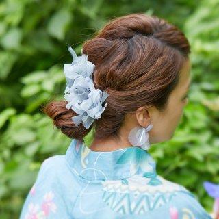 出目金|彩る咲き編みバレッタ/ヘアクリップ