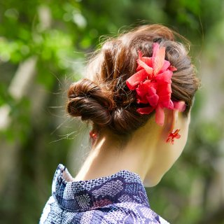 mini|金魚|彩る咲き編みバレッタ/ヘアクリップ