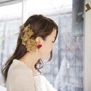 【party】ゴールドブラウン|彩る咲き編みバレッタ/ヘアクリップ