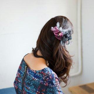 【party】シルバーブラック|彩る咲き編みバレッタ/ヘアクリップ