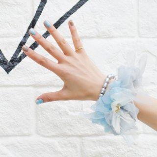 ワスレナグサ|彩る咲き編みシュシュ
